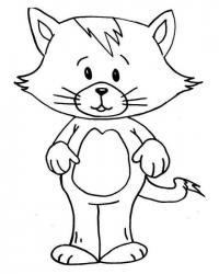 Раскраски кошки  раскраска котенок стоит на двух лапках, домашние животные