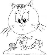 Распечатать раскраску кошка вяжет узелки