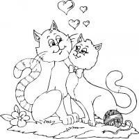 Распечатать раскраску влюбленные кошки, коты и котята