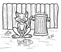 Распечатать раскраску кошка возле мусорного бака, рыбка