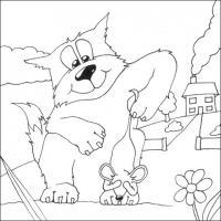 Распечатать раскраску кот держит мышь за хвост