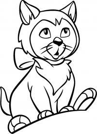 Распечатать раскраску кошки, коты и котята, удивление