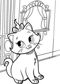 Раскраски кошки  раскраска красивая кошка, окошко, для детей