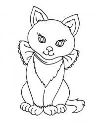 Раскраски кошки  раскраски, кошка, бант, сидит
