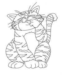 Раскраски кошки  полосатый кот, раскраски для детей, домашние животные