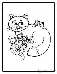 Раскраски кошки  раскраска, котята, добрая кошка, для детей