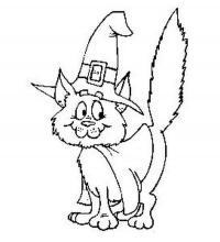Раскраски кошки  котенок в шляпе на хэллоуин