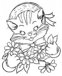 Раскраски кошки  кошка, шляпа, цветы, раскраски для детей