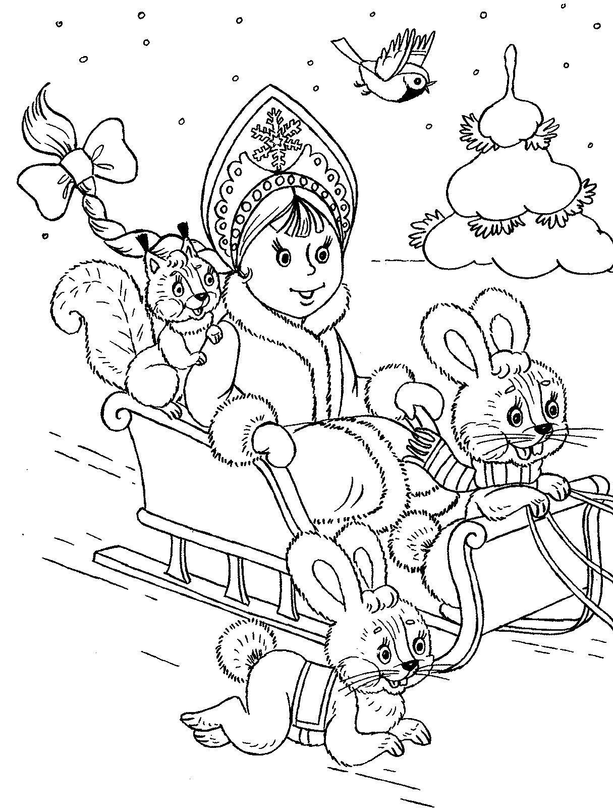 Рисунки для витражных красок, новый год, снегурочка, белочка, зайцы