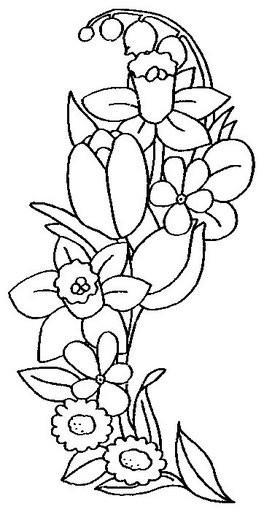 Рисунки для витражных красок, цветы, нарцисс, ландыш, тюльпан