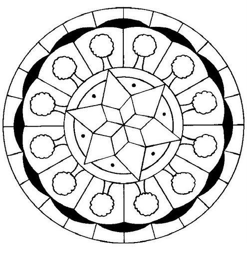 Рисунки для витражных красок, узор в круге со звездой и деревьями