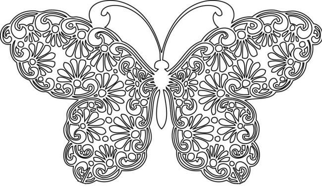 Раскраска бабочка из ромашек