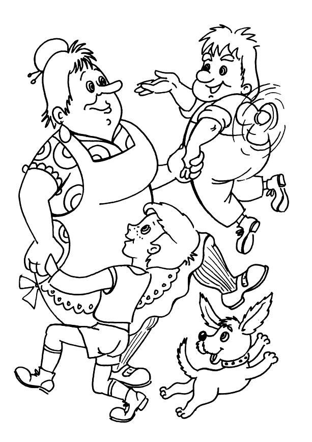 Карлсон раскраски для детей. малыш, карлсон и домоуправительница танцуют