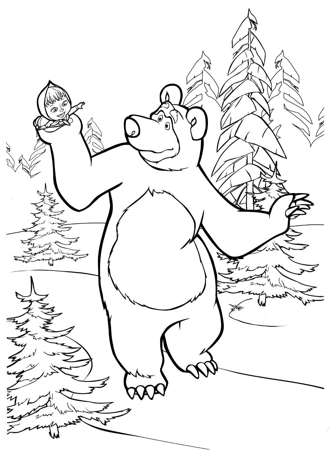 Рисунки для витражных красок из мульфильма маша и медведь. медведь катает машу