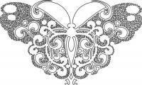 Раскраска бабочки с кружевными крылышками