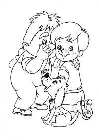 Раскраска - малыш и карлсон. бесплатно. карлсон шепчет на ухо малышу
