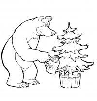 Рисунки для витражных красок из мульфильма маша и медведь, медведь поливает елочку