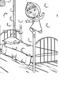 Раскраска маша и медведь, маша прыгает на кровате, вокруг летят перья