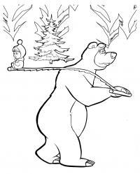 Рисунки для витражных красок из мульфильма маша и медведь. медведь несет машу на пиле с елочкой