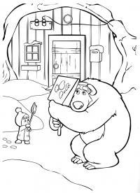 Рисунки для витражных красок из мульфильма маша и медведь. маша кидает снег лопатой