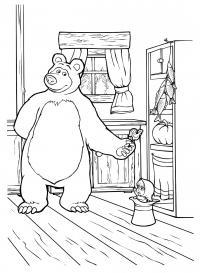 Рисунки для витражных красок из мульфильма маша и медведь. маша прыгает в шляпе за леденцом