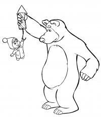 Рисунки для витражных красок из мульфильма маша и медведь. часть 7.10