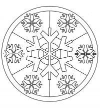 Раскраска витраж из снежинок. раскраска разукрашка для детей новогодняя скачать раскраску снежинка