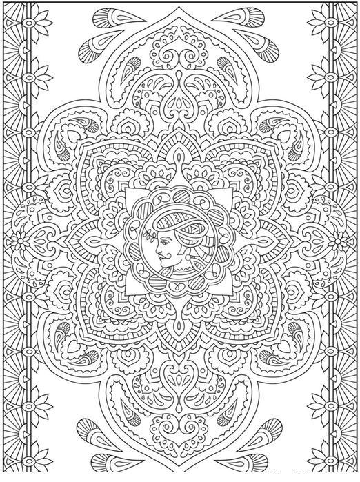 Раскраска для взрослых, индийские узоры
