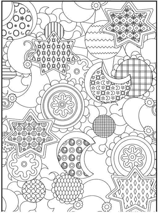 Раскраска для взрослых звезды, месяц, цветы
