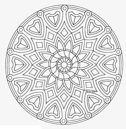 Раскраска для взрослых, узор круглый