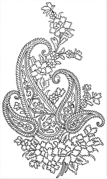 Раскраска для взрослых, узор с гвоздичками