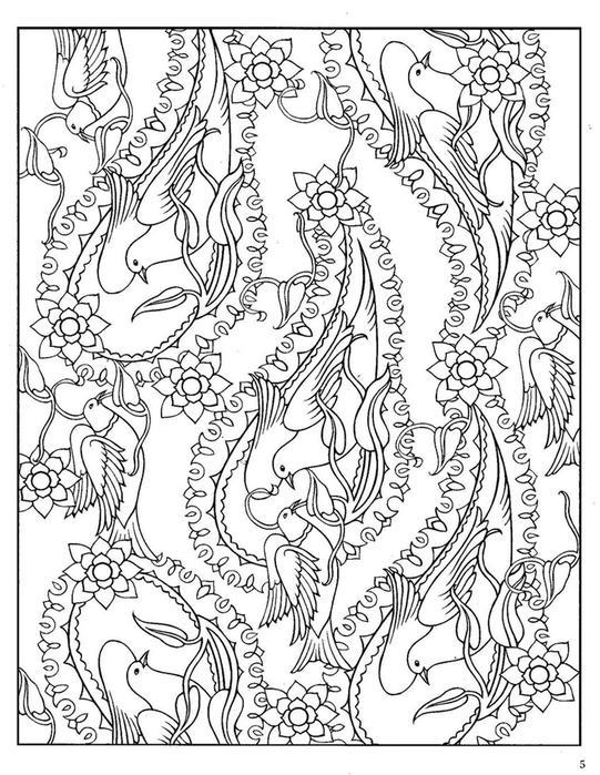 Раскраска для взрослых, цветы и птицы