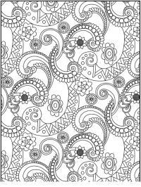 Раскраска для взрослых, узор с цветами