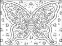 Раскраска для взрослых, узор с бабочкой из цветов