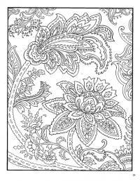 Раскраска для взрослых, пышные цветы