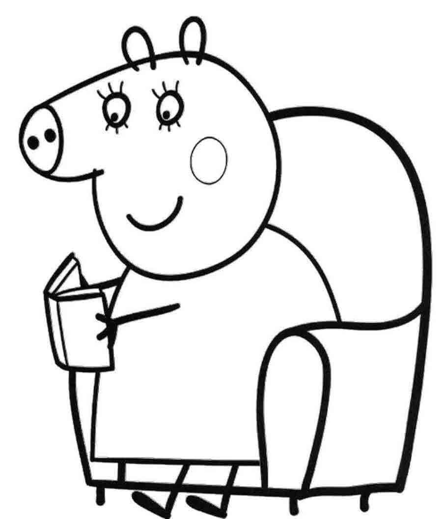 Для раскраски - свинка пеппа в кресле читает книгу