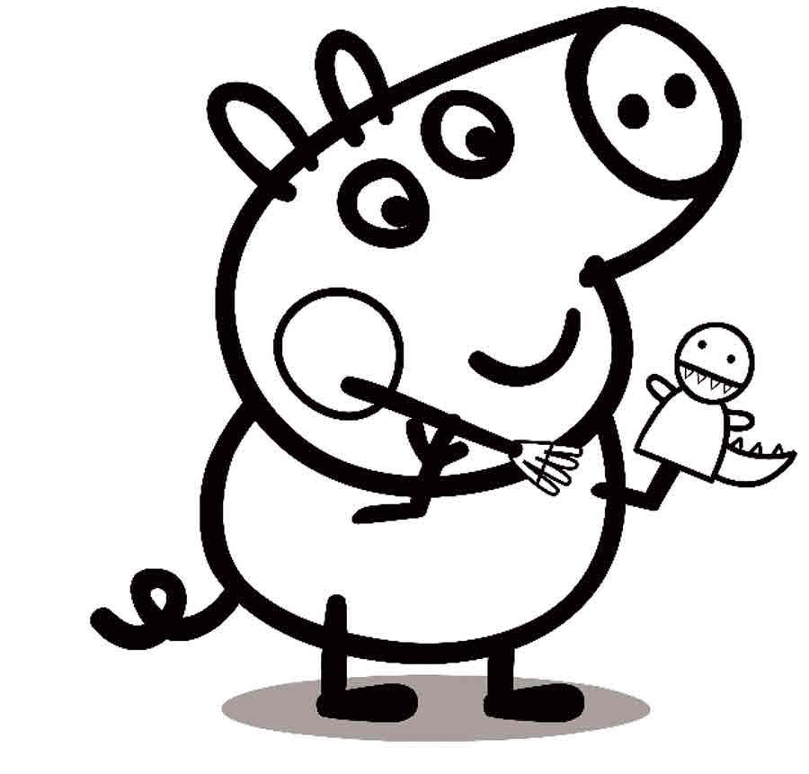 Для раскраски - свинка пеппа делает игрушки
