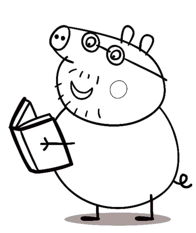 Для раскраски - свинка пеппа, чтение книги