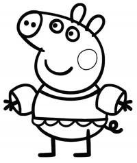 Для раскраски - свинка пеппа танцует