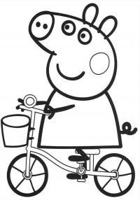 Для раскраски - свинка пеппа катается на велосипеде