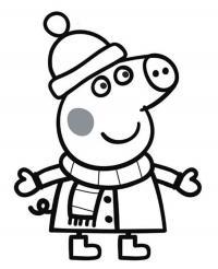 Для раскраски - свинка пеппа зимой