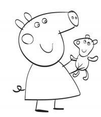 Для раскраски - свинка пеппа с игрушкой мишка