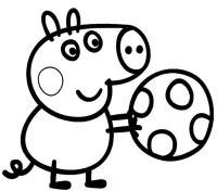 Для раскраски - свинка пеппа с мячиком