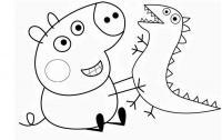Для раскраски - свинка пеппа с динозавром