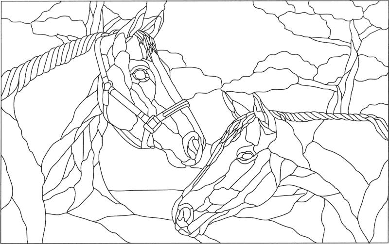 Витражная роспись лошадь