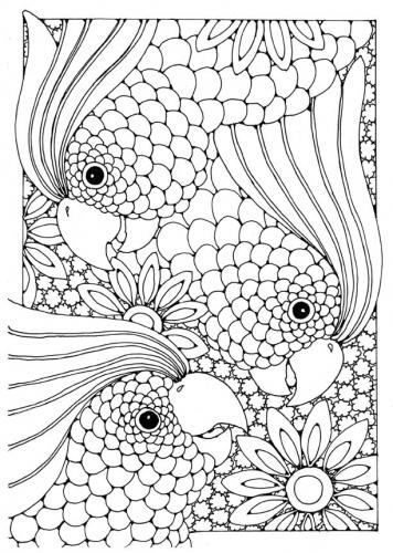 Картинки для витражей, попугаи в цветах