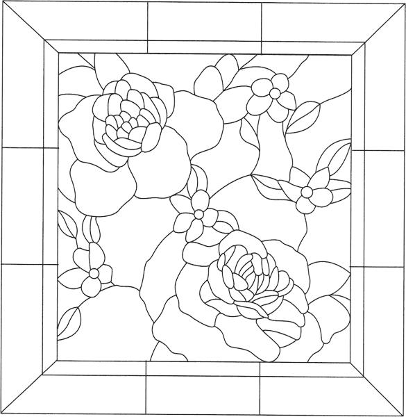 Трафарет витраж, розы
