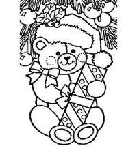 Новогодние раскраски, мишка с подарком