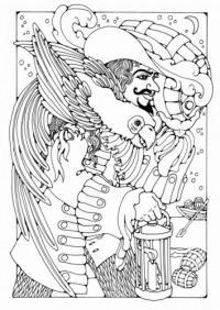 Шаблоны для витража, пират с попугаем