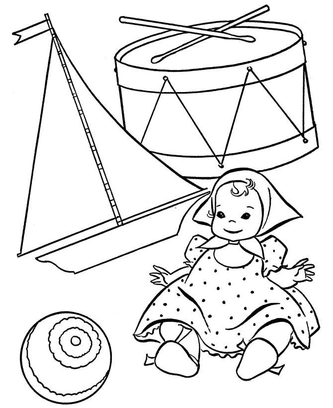 Детские раскраски для самых маленьких, кукла, барабан, кораблик, мяч